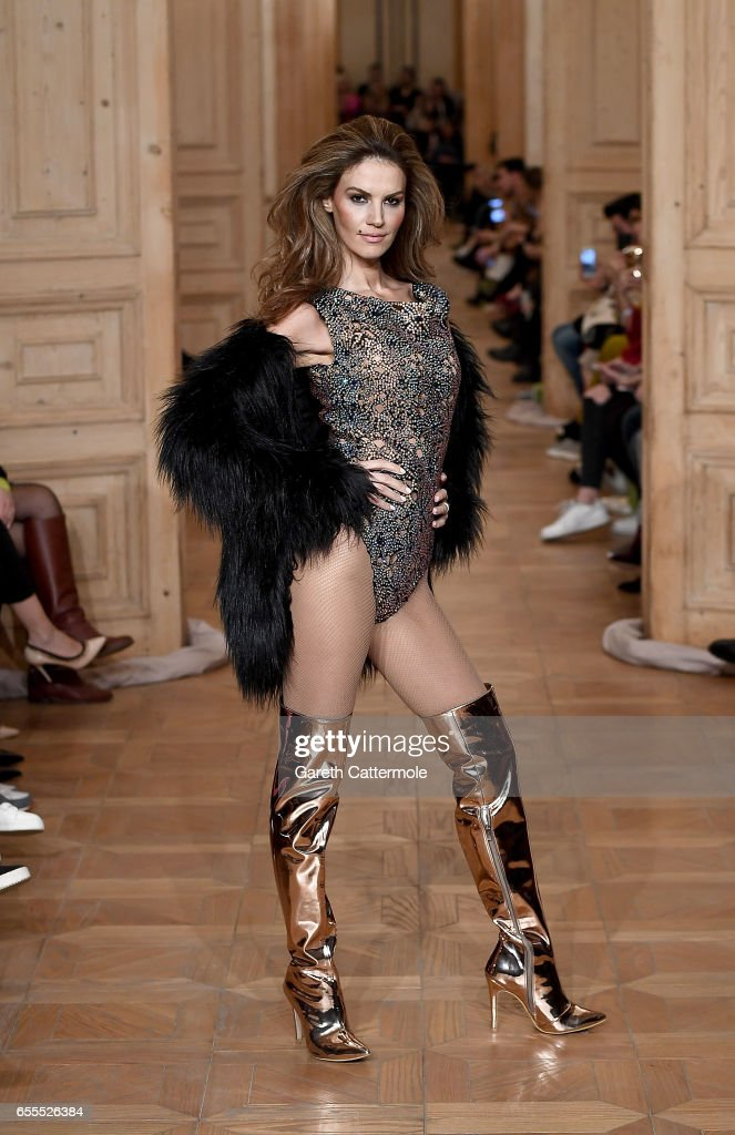 A model walks the runway at the Cihan Nacar show during Mercedes-Benz Istanbul Fashion Week March 2017 at Grand Pera on March 20, 2017 in Istanbul, Turkey.