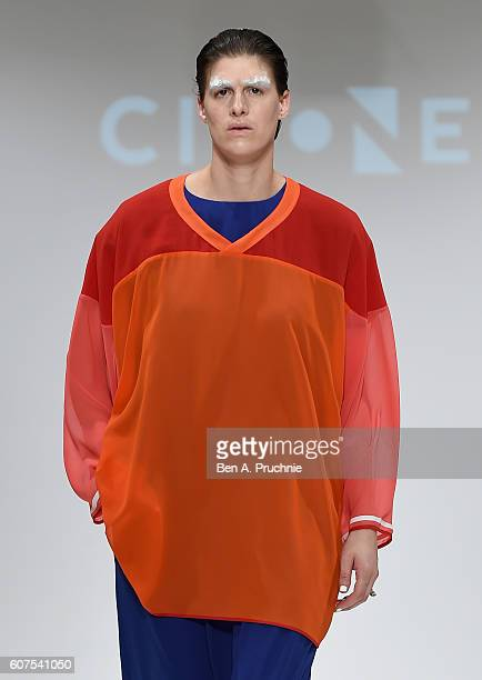A model walks the runway at the Cimone show at Fashion Scout during London Fashion Week Spring/Summer collections 2017 on September 18 2016 in London...