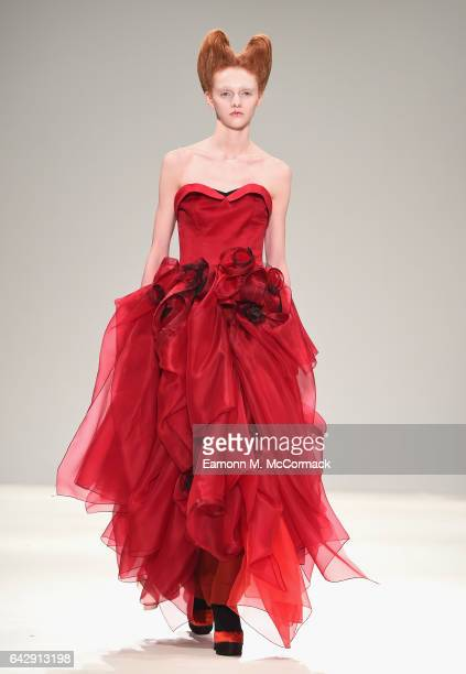 A model walks the runway at the Cimone show during the London Fashion Week February 2017 collections on February 19 2017 in London England