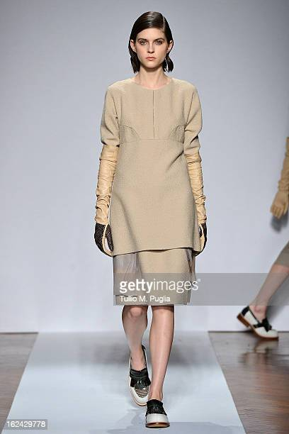A model walks the runway at the Cividini fashion show as part of Milan Fashion Week Womenswear Fall/Winter 2013/14 on February 23 2013 in Milan Italy