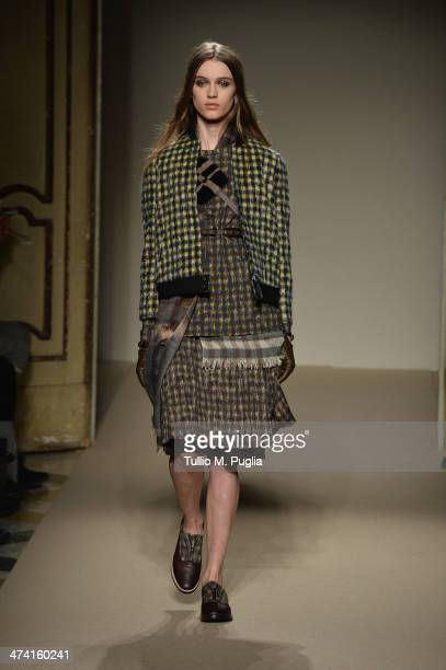 A model walks the runway at the Cividini Show as part of Milan Fashion Week Womenswear Autumn/Winter 2014 on February 22 2014 in Milan Italy