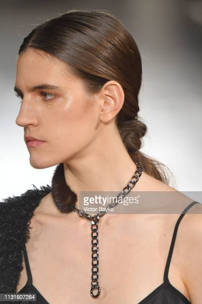 A model walks the runway at the Cividini show at Milan Fashion Week Autumn/Winter 2019/20 on February 23 2019 in Milan Italy