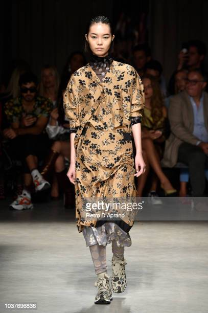 A model walks the runway at the Cividini show during Milan Fashion Week Spring/Summer 2019 on September 22 2018 in Milan Italy