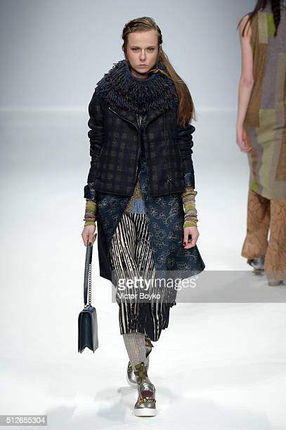A model walks the runway at the Cividini show during Milan Fashion Week Fall/Winter 2016/17 on February 27 2016 in Milan Italy