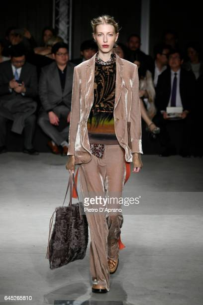 A model walks the runway at the Cividini show during Milan Fashion Week Fall/Winter 2017/18 on February 25 2017 in Milan Italy