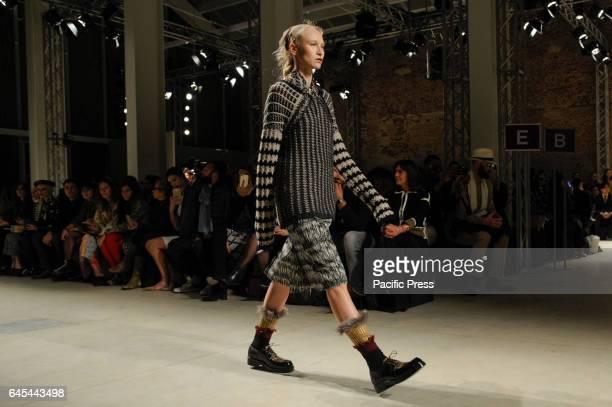 A model walks the runway at the Cividini show during Milan Fashion Week Fall/Winter 2017/18