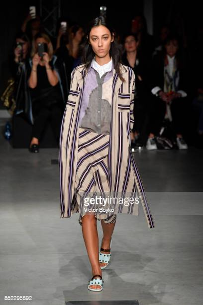 A model walks the runway at the Cividini show during Milan Fashion Week Spring/Summer 2018 on September 23 2017 in Milan Italy
