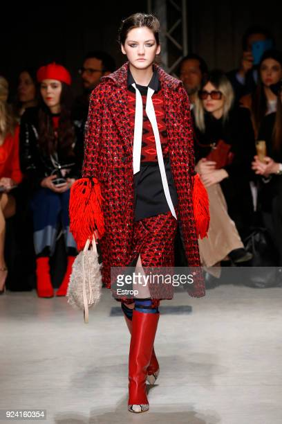 A model walks the runway at the Cividini show during Milan Fashion Week Fall/Winter 2018/19 on February 24 2018 in Milan Italy