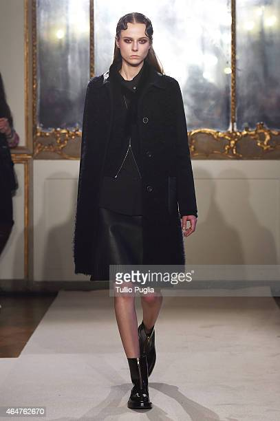 A model walks the runway at the Cividini show during the Milan Fashion Week Autumn/Winter 2015 on February 28 2015 in Milan Italy
