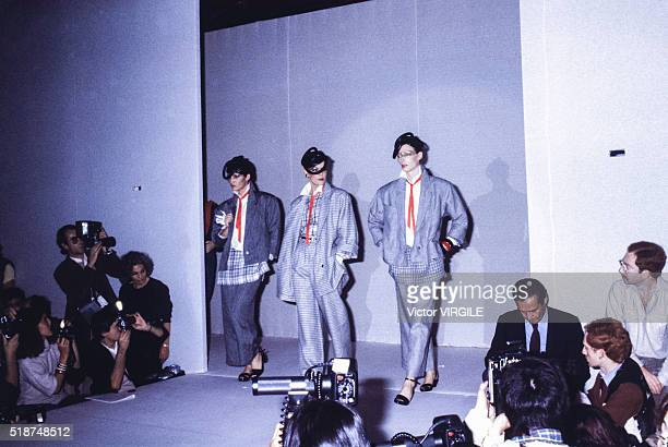 A model walks the runway at the Claude Montana Ready to Wear Spring/Summer 19801981 fashion show during the Paris Fashion Week in October 1980 in...