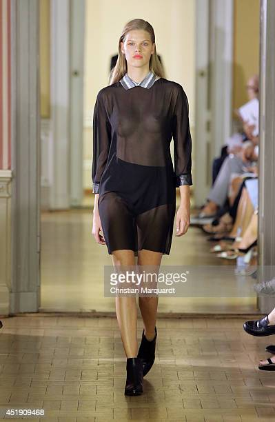 A model walks the runway at the Clemens En August show during the MercedesBenz Fashion Week Spring/Summer 2015 at Palais am Festungsgraben on July 9...