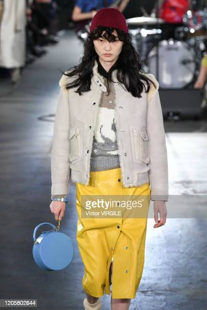 Model walks the runway at the Coach 1941 Ready to Wear Fall/Winter 2020-2021 fashion show during New York Fashion Week on February 11, 2020 in New...