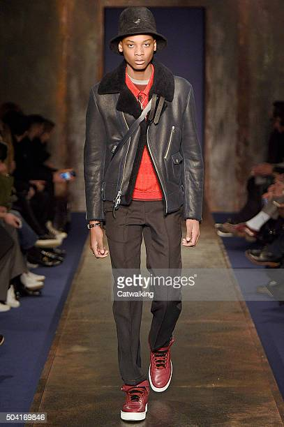 A model walks the runway at the Coach Autumn Winter 2016 fashion show during London Menswear Fashion Week on January 9 2016 in London United Kingdom