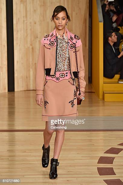A model walks the runway at the Coach Autumn Winter 2016 fashion show during New York Fashion Week on February 16 2016 in New York United States
