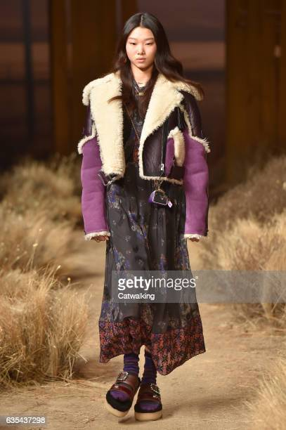 Model walks the runway at the Coach Autumn Winter 2017 fashion show during New York Fashion Week on February 14, 2017 in New York, United States.