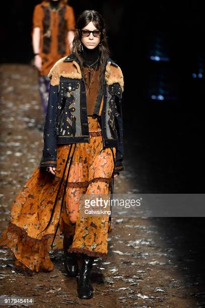 A model walks the runway at the Coach Autumn Winter 2018 fashion show during New York Fashion Week on February 13 2018 in New York United States