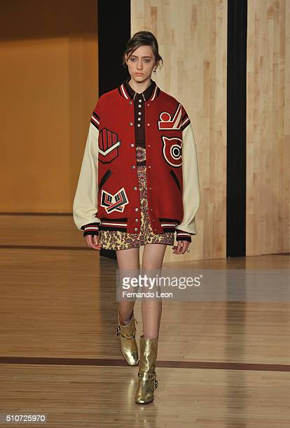 A model walks the runway at the Coach fashion show held at Pier 76 during Fall 2016 New York Fashion Week on February 16 2016 in New York City