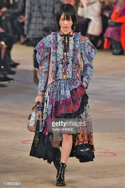 Model walks the runway at the Coach Ready to Wear Fall/Winter 2019-2020 fashion show during New York Fashion Week on February 12, 2019 in New York...