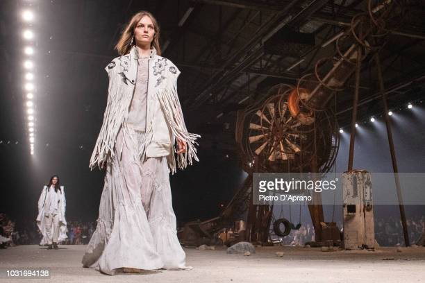 A model walks the runway at the Coach Spring 2019 show during New York Fashion Week at Pier 94 on September 11 2018 in New York City