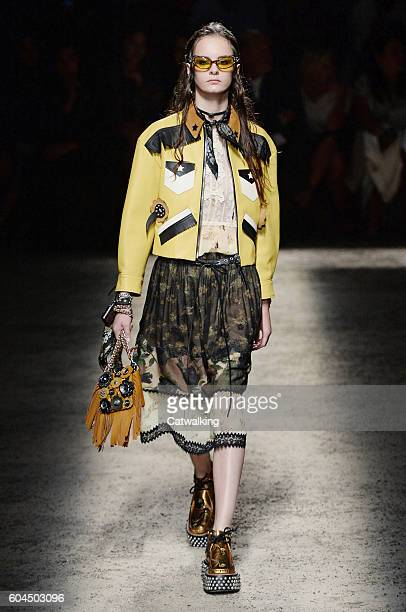 A model walks the runway at the Coach Spring Summer 2017 fashion show during New York Fashion Week on September 13 2016 in New York United States