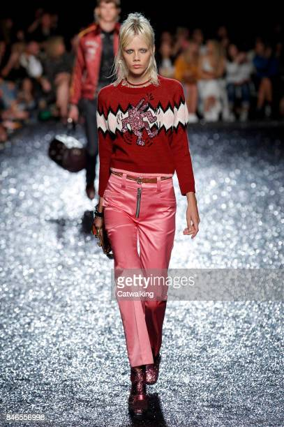 Model walks the runway at the Coach Spring Summer 2018 fashion show during New York Fashion Week on September 12, 2017 in New York, United States.
