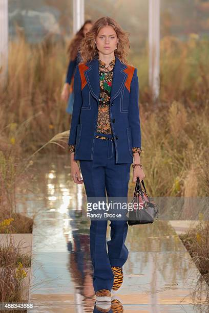 A model walks the runway at the Coach Women's Spring 2016 fashion show during New York Fashion Week at The Highline on September 15 2015 in New York...