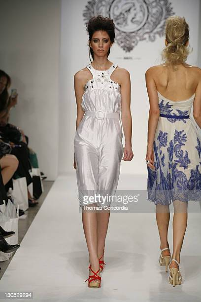 A model walks the runway at the Coco Johnsen Spring 2008 fashion show during Mercedes Benz Fashion Week held at Smashbox Studios on October 15 2007...