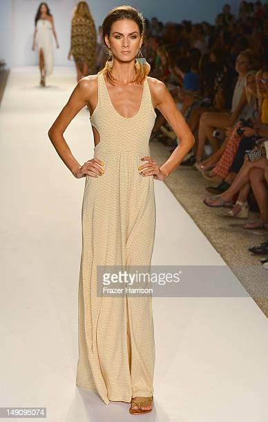 Model walks the runway at The Collection by L Space show during Mercedes-Benz Fashion Week Swim 2013 at The Raleigh on July 22, 2012 in Miami Beach,...