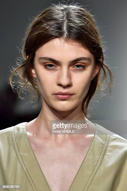 A model walks the runway at the Colovos Ready to Wear Spring/Summer 2018 fashion show during New York Fashion Week on September 11 2017 in New York...
