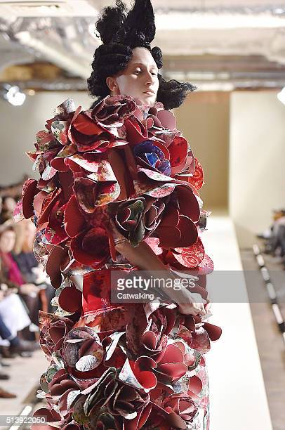 Model walks the runway at the Comme Des Garcons Autumn Winter 2016 fashion show during Paris Fashion Week on March 5, 2016 in Paris, France.