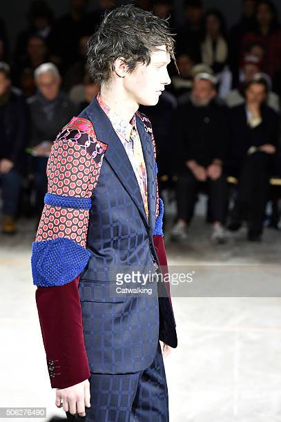 A model walks the runway at the Comme Des Garcons Homme Plus Autumn Winter 2016 fashion show during Paris Menswear Fashion Week on January 22 2016 in...