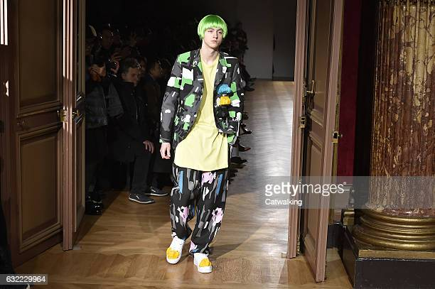 A model walks the runway at the Comme Des Garcons Homme Plus Autumn Winter 2017 fashion show during Paris Menswear Fashion Week on January 20 2017 in...