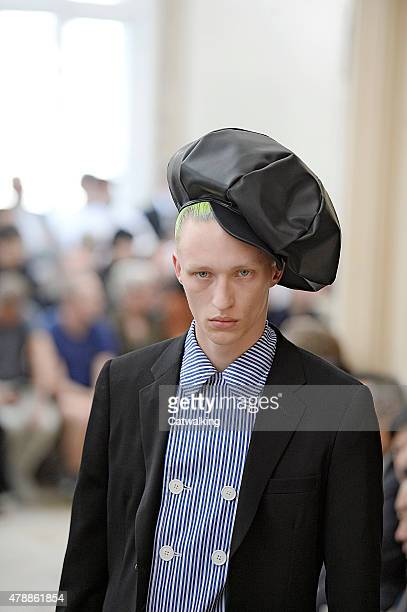 A model walks the runway at the Comme Des Garcons Homme Plus Spring Summer 2016 fashion show during Paris Menswear Fashion Week on June 26 2015 in...