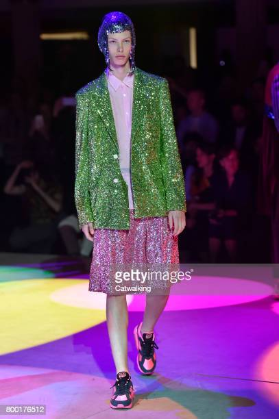 A model walks the runway at the Comme des Garcons Homme Plus Spring Summer 2018 fashion show during Paris Menswear Fashion Week on June 23 2017 in...