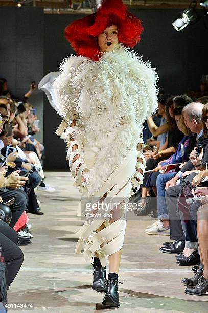 Model walks the runway at the Comme Des Garcons Spring Summer 2016 fashion show during Paris Fashion Week on October 3, 2015 in Paris, France.