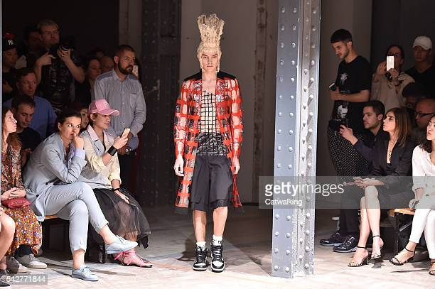 Model walks the runway at the Comme des Garcons Spring Summer 2017 fashion show during Paris Menswear Fashion Week on June 24, 2016 in Paris, France.