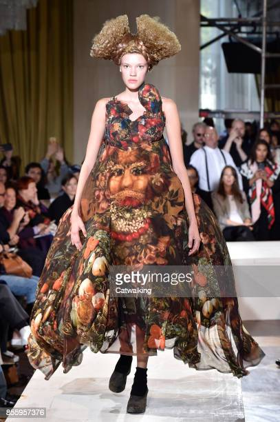 Model walks the runway at the Comme Des Garcons Spring Summer 2018 fashion show during Paris Fashion Week on September 30, 2017 in Paris, France.