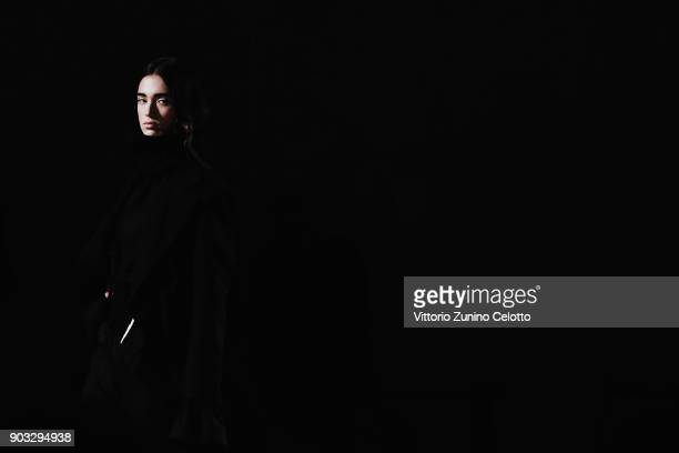A model walks the runway at the Concept Korea Beyond Closet e Bmuet show during the 93 Pitti Immagine Uomo at Fortezza Da Basso on January 10 2018 in...