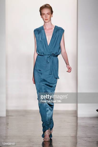 A model walks the runway at the Costello Tagliapiertra Spring 2012 fashion show during MercedesBenz Fashion Week at Milk Studios on September 9 2011...