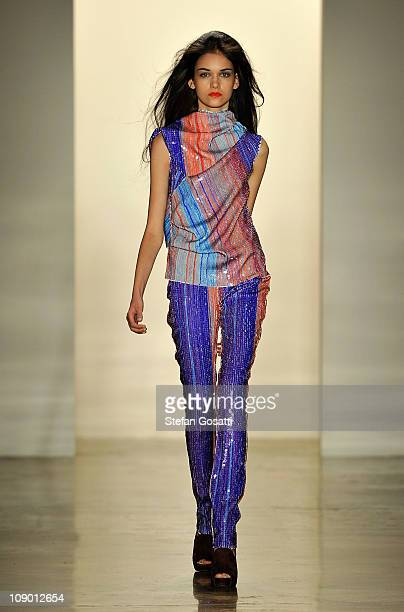 Model walks the runway at the Costello Tagliapietra Fall 2011 fashion show during Mercedes-Benz Fashion Week at Milk Studios on February 11, 2011 in...