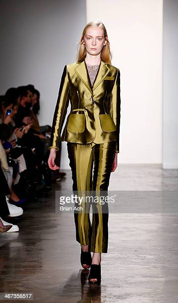A model walks the runway at the Costello Tagliapietra fashion show during MADE Fashion Week Fall 2014 at Milk Studios on February 6 2014 in New York...