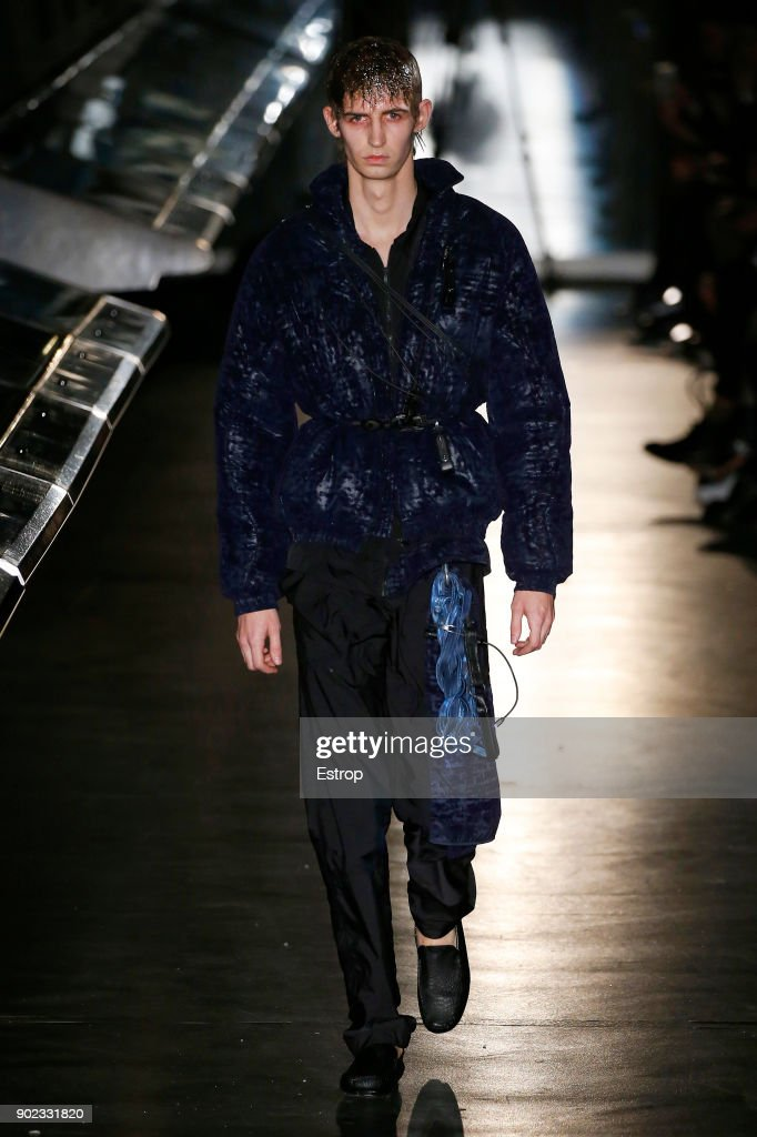 A model walks the runway at the Cottweiler show during London Fashion Week Men's January 2018 at Natural History Museum on January 6, 2018 in London, England.
