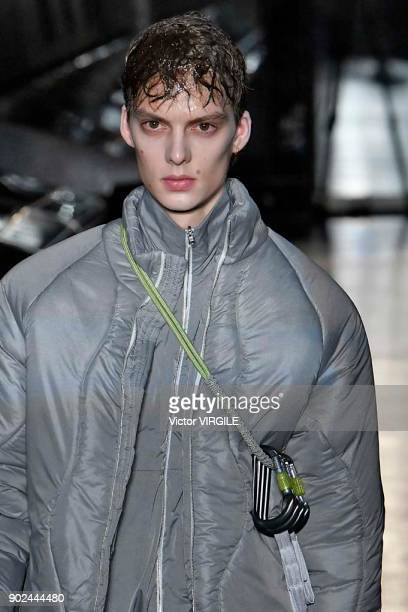 Model walks the runway at the Cottweiler show during London Fashion Week Men's Fall/Winter 2018/2019 in January 2018 at Natural History Museum on...