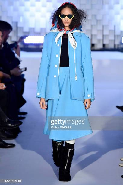 Model walks the runway at the Courreges Ready to Wear fashion show at Paris Fashion Week Autumn/Winter 2019/2020 on February 27, 2019 in Paris,...
