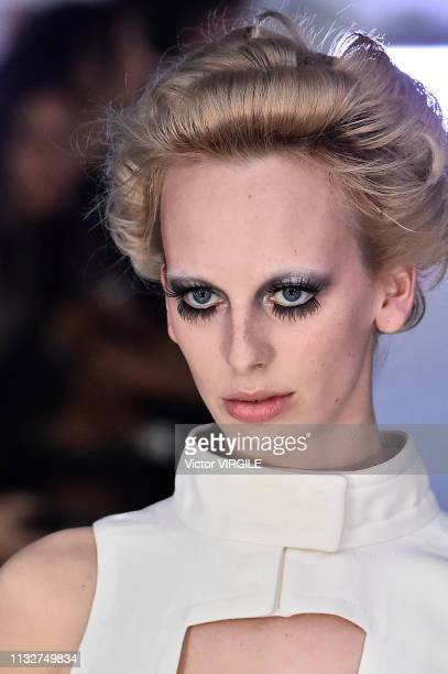 A model walks the runway at the Courreges Ready to Wear fashion show at Paris Fashion Week Autumn/Winter 2019/2020 on February 27 2019 in Paris France