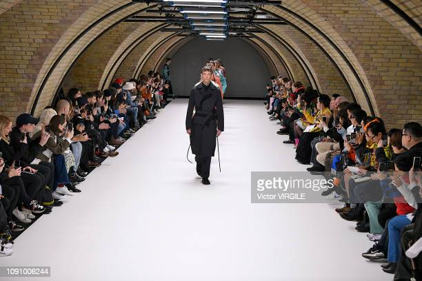 Model walks the runway at the Craig Green Fall/Winter 2019-2020 fashion show during London Fashion Week Men's January 2019 on January 07, 2019 in...