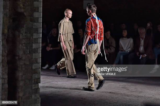 Model walks the runway at the Craig Green fashion show during the London Fashion Week Men's June 2017 Spring Summer 2018 collections on June 12, 2017...