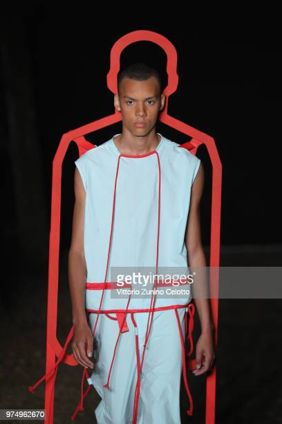 Model walks the runway at the Craig Green show during the 94th Pitti Immagine Uomo on June 14, 2018 in Florence, Italy.