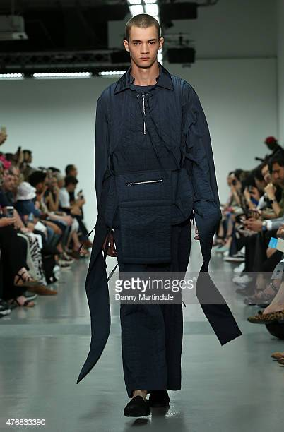 Model walks the runway at the Craig Green show during The London Collections Men SS16 at Victoria House on June 12, 2015 in London, England.