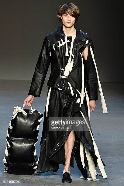 A model walks the runway at the Craig Green show during the London Collections Men AW16 at the Topman Show Space on January 8 2016 in London England
